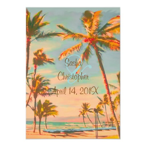 PixDezines Vintage Beach Scence/Aloha/Luau Personalized Invitation