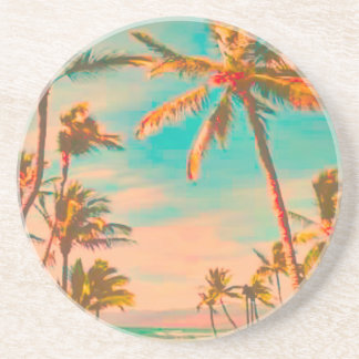 PixDezines Vintage Beach Scene, mauna lani bay Beverage Coaster