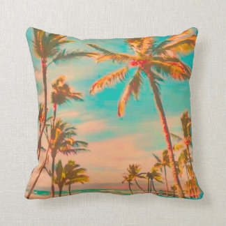 PixDezines vintage beach scene Throw Pillow