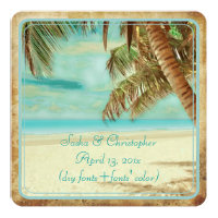 PixDezines vintage beach, tropical paradise Invitation