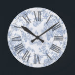 """PixDezines Vintage Blue Roses Toile Round Clock<br><div class=""""desc"""">PixDezines vintage roses toile in blue on DIY background color. com™ and PixDezines™ on zazzle.com.  All rights reserved.</div>"""