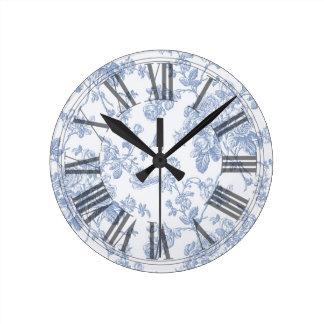 PixDezines Vintage Blue Roses Toile Round Clock
