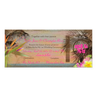 PixDezines vintage boarding pass/bird of paradise Card