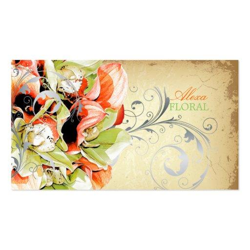 PixDezines vintage bouquet, florists/diy colors Business Card Template