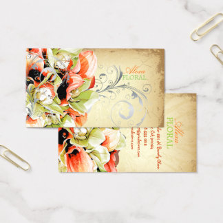 PixDezines vintage bouquet, florists/diy colors Business Card