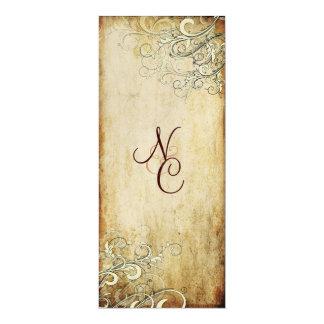 PixDezines vintage cream swirls wedding programs 4x9.25 Paper Invitation Card
