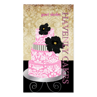 PixDezines vintage damask cake/pâtisserie/DIY font Double-Sided Standard Business Cards (Pack Of 100)