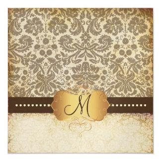 PixDezines Vintage Desiree Damask/brown 5.25x5.25 Square Paper Invitation Card