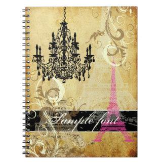 PixDezines vintage eiffel tower+swirls+chandelier Notebook