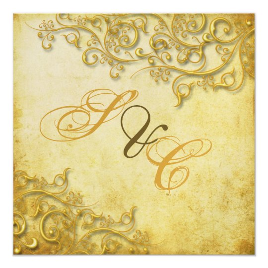 PixDezines vintage faux gold swirls Card