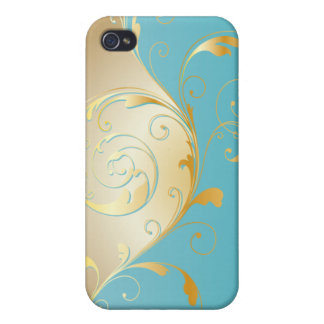 PixDezines vintage filigree swirls/faux gold+teal Cover For iPhone 4