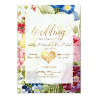 PixDezines Vintage Floral Bouquet/Gold Heart Card