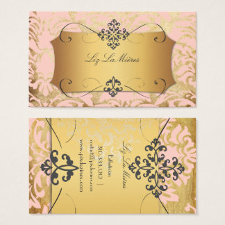 PixDezines VINTAGE FLORENTIUS DAMASK/PINK Business Card