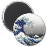 PixDezines Vintage, Great Wave, Hokusai 葛飾北斎の神奈川沖浪 2 Inch Round Magnet