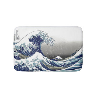 PixDezines Vintage, Great Wave, Hokusai 葛飾北斎の神奈川沖浪 Bath Mat