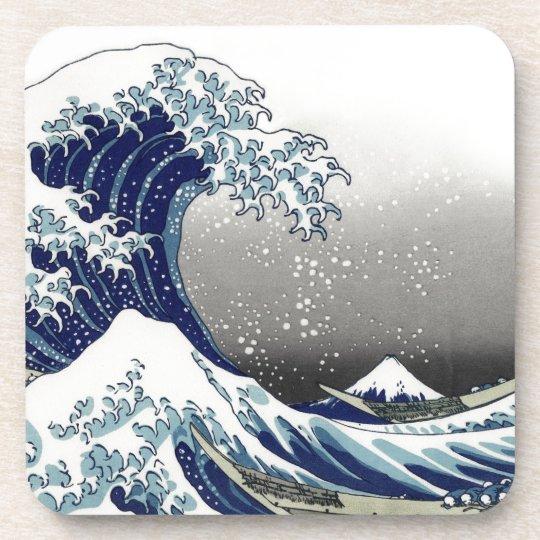 PixDezines Vintage, Great Wave, Hokusai 葛飾北斎の神奈川沖浪 Beverage Coaster