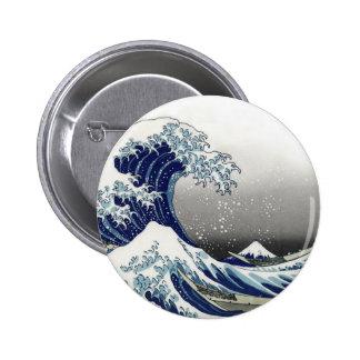 PixDezines Vintage, Great Wave, Hokusai 葛飾北斎の神奈川沖浪 Button