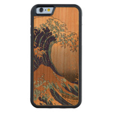 Pixdezines Vintage, Great Wave, Hokusai 葛飾北斎の神奈川沖浪 Carved® Cherry Iphone 6 Bumper Case at Zazzle