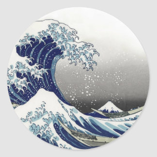PixDezines Vintage, Great Wave, Hokusai 葛飾北斎の神奈川沖浪 Classic Round Sticker