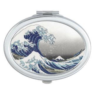PixDezines Vintage, Great Wave, Hokusai 葛飾北斎の神奈川沖浪 Compact Mirror
