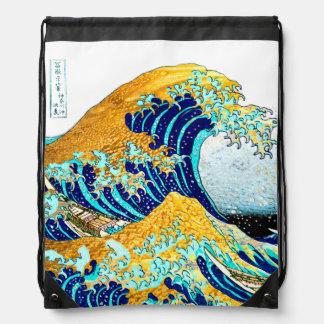 PixDezines Vintage, Great Wave, Hokusai 葛飾北斎の神奈川沖浪 Drawstring Backpack