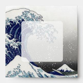 PixDezines vintage, Great Wave, Hokusai 葛飾北斎の神奈川沖浪 Envelope