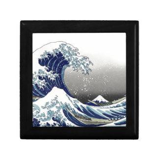 PixDezines Vintage, Great Wave, Hokusai 葛飾北斎の神奈川沖浪 Jewelry Box