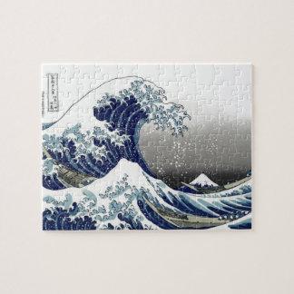 PixDezines Vintage, Great Wave, Hokusai 葛飾北斎の神奈川沖浪 Jigsaw Puzzle
