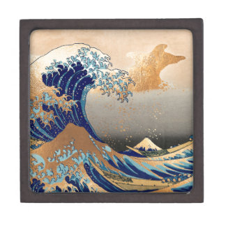 PixDezines Vintage, Great Wave, Hokusai 葛飾北斎の神奈川沖浪 Keepsake Box