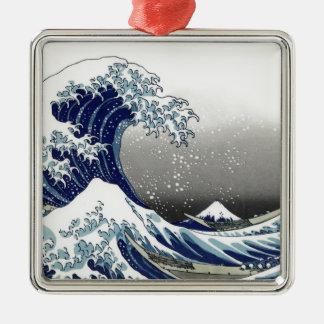 PixDezines Vintage, Great Wave, Hokusai 葛飾北斎の神奈川沖浪 Metal Ornament