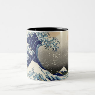 PixDezines Vintage, Great Wave, Hokusai 葛飾北斎の神奈川沖浪 Two-Tone Coffee Mug