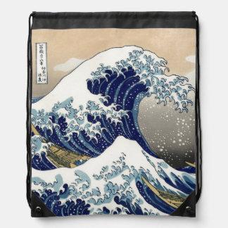 PixDezines Vintage, Great Wave, Hokusai 葛飾北斎の神奈川沖浪 Drawstring Backpacks