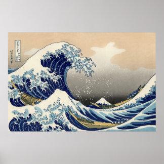 PixDezines Vintage, Great Wave, Hokusai 葛飾北斎の神奈川沖浪 Poster