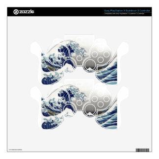 PixDezines Vintage, Great Wave, Hokusai 葛飾北斎の神奈川沖浪 PS3 Controller Decals