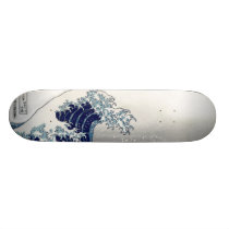PixDezines Vintage, Great Wave, Hokusai 葛飾北斎の神奈川沖浪 Skateboard