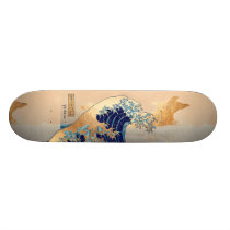 PixDezines Vintage, Great Wave, Hokusai 葛飾北斎の神奈川沖浪 Skateboard Deck