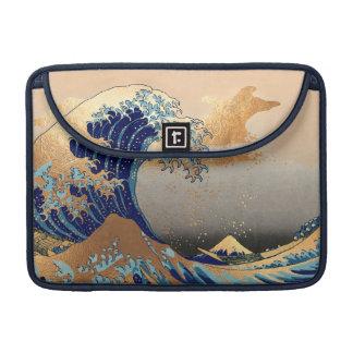 PixDezines Vintage, Great Wave, Hokusai 葛飾北斎の神奈川沖浪 Sleeve For MacBooks