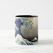 PixDezines Vintage, Great Wave, Hokusai 葛飾北斎の神奈川沖浪 Two-Tone Coffee Mug