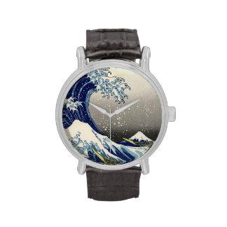 PixDezines Vintage, Great Wave, Hokusai 葛飾北斎の神奈川沖浪 Wrist Watches