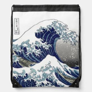 PixDezines Vintage Great Wave Hokusai 葛飾北斎 神奈川沖浪 Drawstring Bag