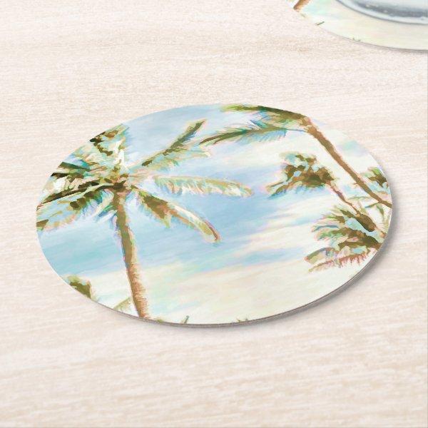 PixDezines Vintage Hawaiian Beach/Blue Round Paper Coaster