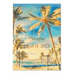 "PixDezines vintage hawaiian beach/cerulean blue 5"" X 7"" Invitation Card"