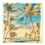 "PixDezines vintage hawaiian beach/cerulean blue 5.25"" Square Invitation Card"