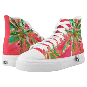 Beach Themed PixDezines Vintage Hawaiian Beach/Coral/Teal High-Top Sneakers