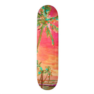 PixDezines Vintage Hawaiian Beach/Coral/Teal Skateboard