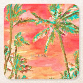 PixDezines Vintage Hawaiian Beach/Coral/Teal Square Paper Coaster