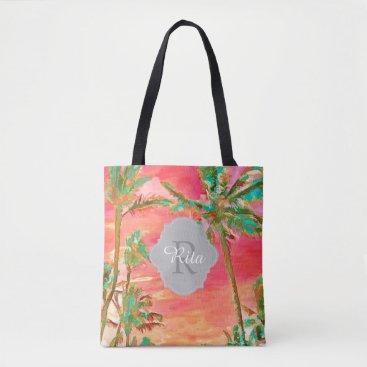 Beach Themed PixDezines Vintage Hawaiian Beach/Coral/Teal Tote Bag