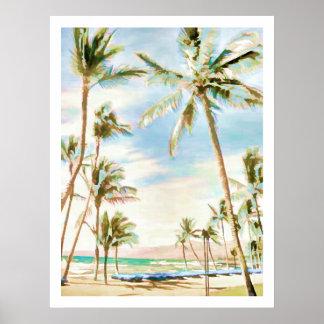 PixDezines Vintage Hawaiian Beach/Light Blue Poster