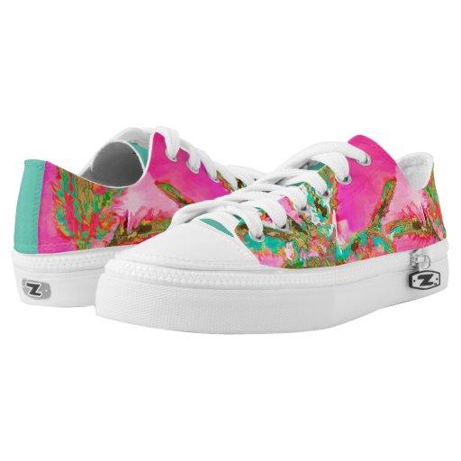 pixdezines vintage hawaiian pink teal printed shoes