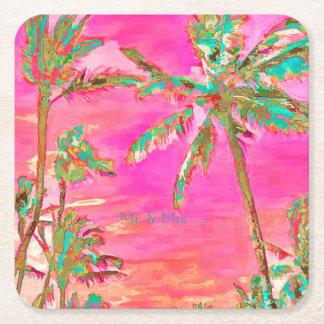 PixDezines Vintage Hawaiian Beach/Pink/Teal Square Paper Coaster